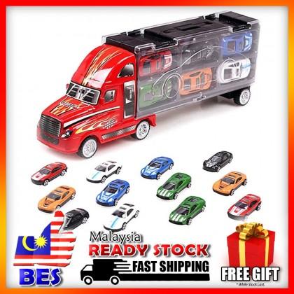 4GL Truck Carrying Toy Set 1 PC Truck & 12 PCS Alloy Car Toys Carry Truck Mainan Budak