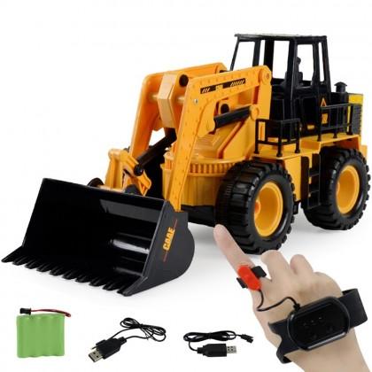 4GL Bulldozer Truck WATCH CONTROL Car 6 Channel 2.4G Remote Control Car 1:24 Simulation Engineering Toys Toy Mainan Budak