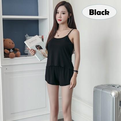 4GL PLAIN COTTON SINGLET Pyjamas Nightwear Sleepwear Pajamas Set Baju Tidur Perempuan