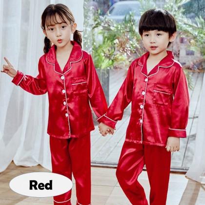 4GL KIDS SILK SATIN Pyjamas Long Sleeve Nightwear Pajamas Set Baju Tidur Tido Budak