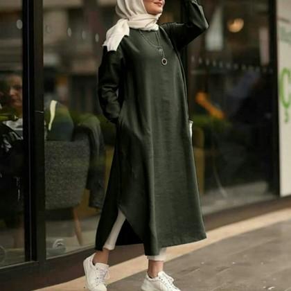 4GL Muslimah LD221281 VINTAGE Long Dress Muslimah Dress Women Dress Maxi Dress Long Sleeve Baju Muslimah Baju Perempuan