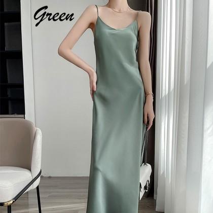 4GL LD220220 Silk Sleeveless Dress Women Dress Maxi Dress Baju Perempuan Baju Wanita