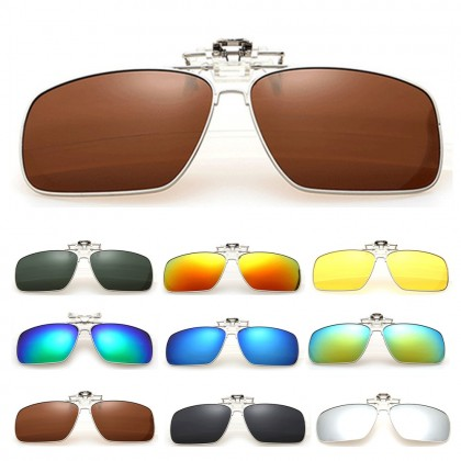 4GL CS02 Square Aviator Frame Clip On Polarized Sunglasses