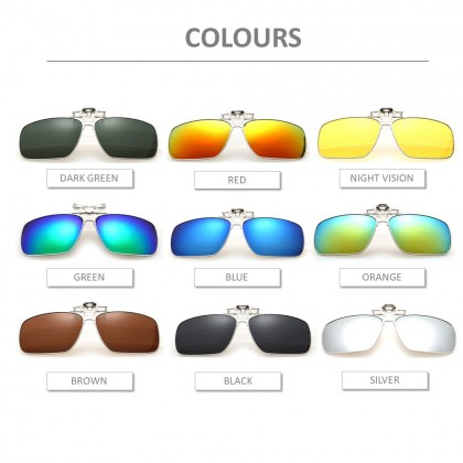 4GL CS02 Clip On Polarized Sunglasses Square Aviator Frame