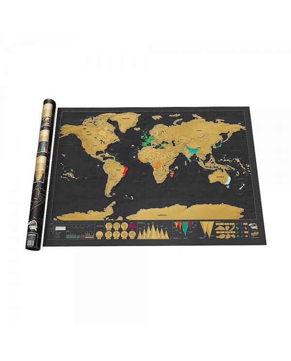 GL Black Scratch Off Large Educational World Map Travel Map Wall - Large detailed world map poster