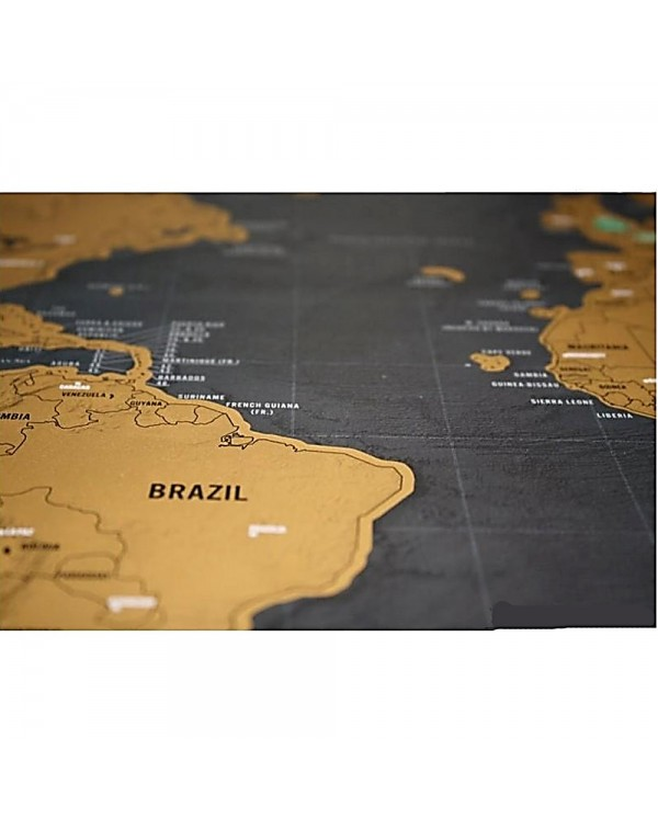 4GL Black Scratch Off Large Educational World Map Travel Map Wall Map Poster