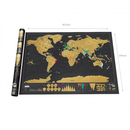 4GL BLACK MAP Scratch Off Large Educational World Map Travel Map Wall Map Poster