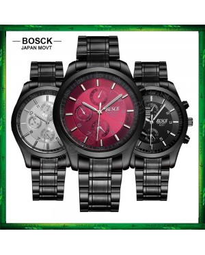 BOSCK Men's Business Casual Sports Steel/Leather Waterproof Watch 825