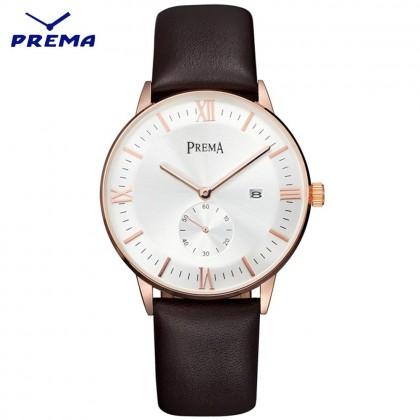 4GL Prema Luxury Leather Watch Ultra Thin Quartz Watch Jam Tangan