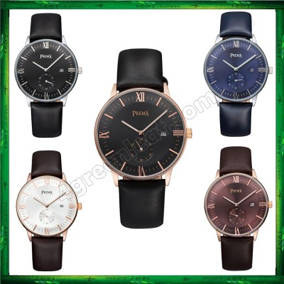 Original PREMA Luxury Watch Ultra Thin Leather Band Casual Quartz Wrist Watch