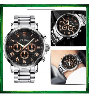 Original PREMA Luxury Watch 8322 Leather Steel Band Casual Quartz Wrist Watch