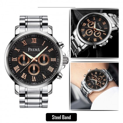 Original PREMA Luxury Watch 3288 Leather Steel Band Casual Quartz Wrist Watch