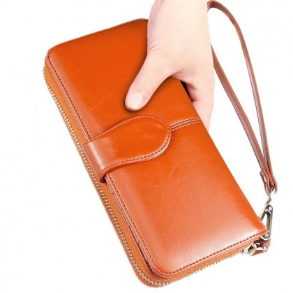 4GL H980/06 Long Purse Fashion Lady Oil Wax Leather Purse Wallet Wallets Dompet