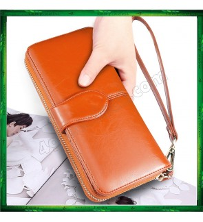 Fashion Lady Oil Wax Leather Purse Wallet Wallets H980