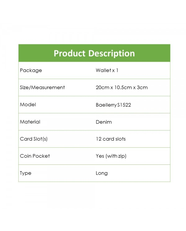 4GL Baellerry S1522 Canvas Long Wallet Purse Dompet