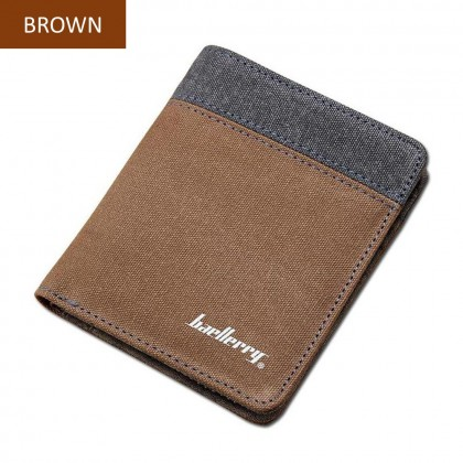 4GL Baellerry D3388 VERTICAL Short Wallet Canvas Men's Wallet Purse Dompet