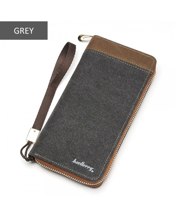 4GL Baellerry S6033 Canvas Men Premium Long Wallet Purse Dompet