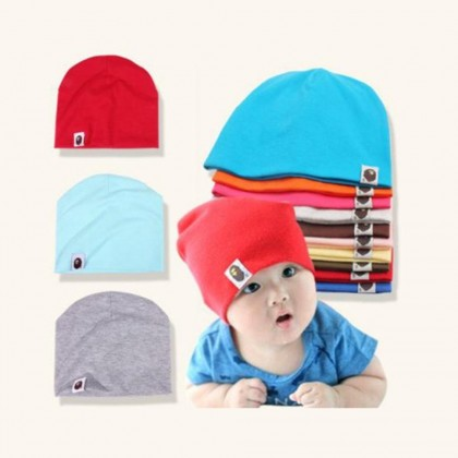4GL Cute Warm Plain Color Baby Hat Cotton Beanie Cap for Baby