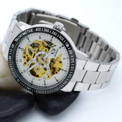 4GL Gucamel GUC01 Men Auto Mechanical Watch Hollow Dial Luminous Steel Leather