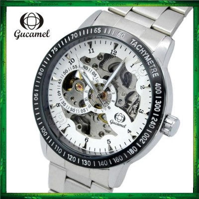GUC01 Gucamel Men Auto Mechanical Hollow Dial Luminous Steel Leather Band Watch