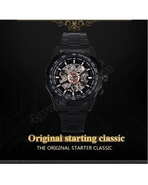 FM01 Winner Watch Men Automatic Mechanical Skeleton Vintage Watch