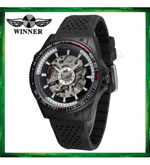 WM07 Winner Automatic Mechanical Skeleton Watches Men watch Sport Silicone Band