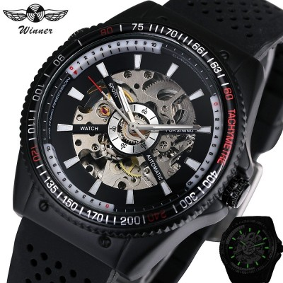 4GL WM07 Winner Automatic Mechanical Skeleton Watches Men Watch Silicone