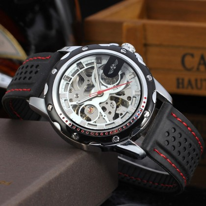 4GL WM08 Winner Automatic Mechanical Skeleton Men Watches Sport Silicone Band