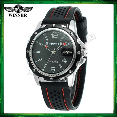 WM12 Winner Auto Date Automatic Men Silicone Strap Mechanical Wristwatches