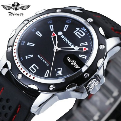 4GL WM12 Winner Auto Date Automatic Men Silicone Strap Mechanical Wristwatches