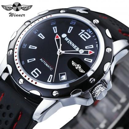 4GL WM12 Winner Auto Date Automatic Men Silicone Strap Mechanical Wristwatches