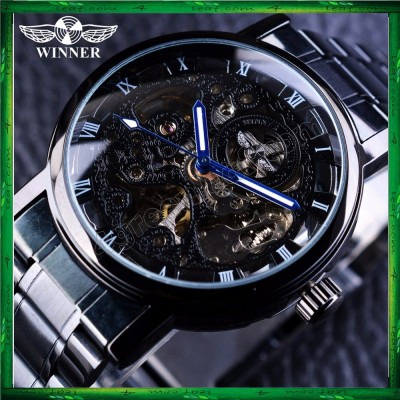 WM10 Winner Skeleton Stainless Steel Blue Hands Luminous Men Automatic Watch