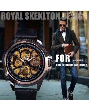 WM13 Winner Skeleton Military Design Black Golden Case Men Wrist Automatic Watch