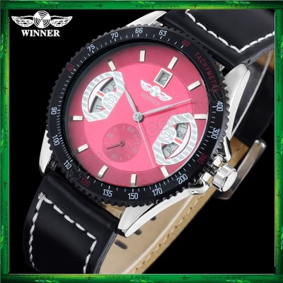 WM14 Winner Mechanical Automatic Self Wind Watch Auto Date Black Leather Straps