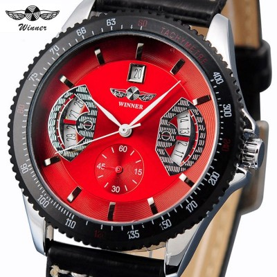 4GL WM14 Winner Mechanical Automatic Self Wind Watch Auto Date Black Leather Straps
