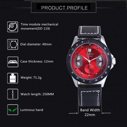 4GL WM14 Winner Mechanical Automatic Self Wind Watch Auto Date Black Leather Straps