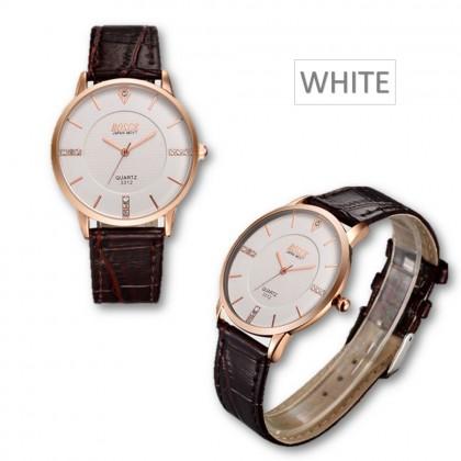 4GL BOSCK Men's Leather 7mm Ultra Thin Watch Quartz 3312