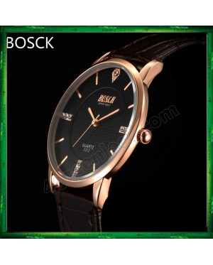 BOSCK Men's Leather 7mm Ultra Thin Watch Quartz 3312