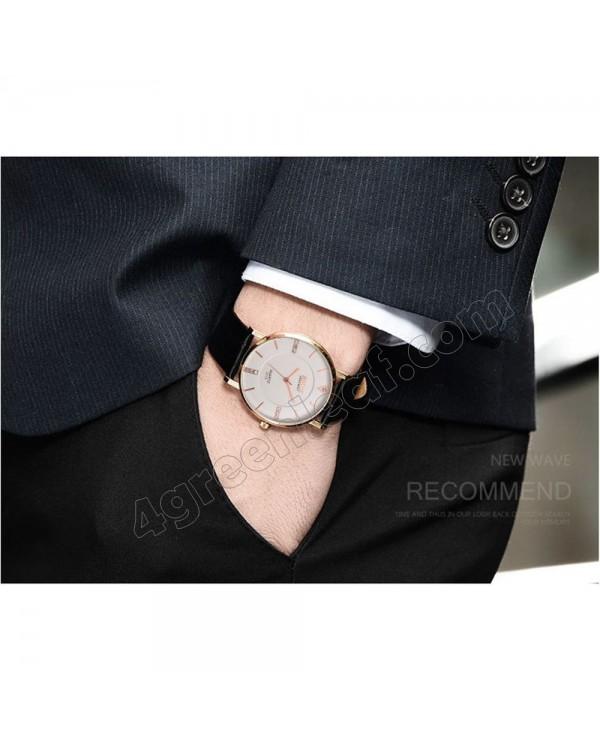 BOSCK Men's Leather 7mm Ultra Thin Watch Quartz 3312