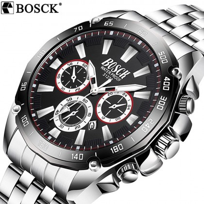4GL BOSCK 31232 Men's Business Casual Sports Steel/Silicone Waterproof Watch