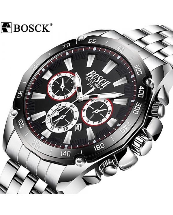 4GL BOSCK 31232 Men's Business Casual Sports Steel/Silicone Waterproof Watch
