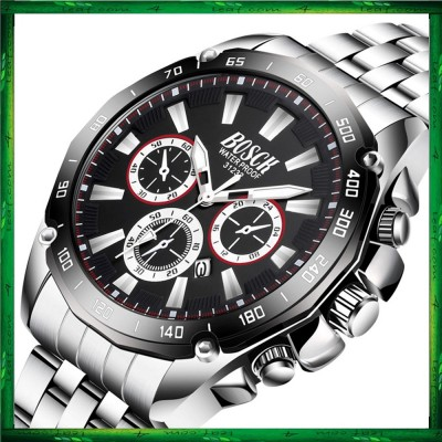 BOSCK Men's Business Casual Sports Steel/Silicone Waterproof Watch 31232