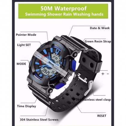4GL Sanda 799 Waterproof Sport Men Shockproof Digital Watch Jam Tangan