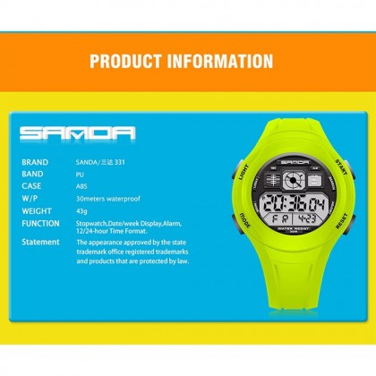 4GL Sanda 331 Watch Water Resistant LED Sports Jam Tangan