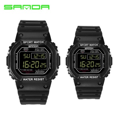 Sanda 329/293 Men Women LED Couple Sports Watch with Alarm Date Day