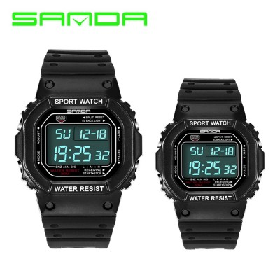 4GL Sanda 329 293 Men Women LED Couple Sports Watch with Alarm Date Day