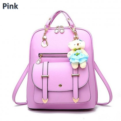 4GL Fashion Multi-Way Girls School Backpack With Bear Keychain