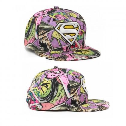 4GL Superman Graffiti Embroidery Snapback Cap Topi