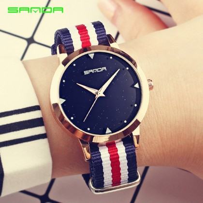 4GL Sanda P207 Stripe Fashion Women Watch Jam Tangan
