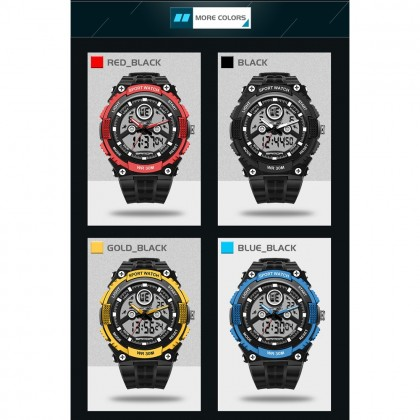 4GL Sanda 709 Dual Display 30M Waterproof Sport Military LED Digital Watch